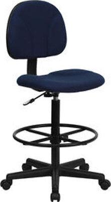 Flash Furniture Blue Patterned Fabric Multi-Functional Ergonomic Drafting Stool