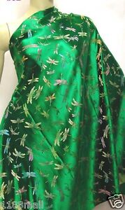 Emerald Green Dragonfly CHINESE BROCADE FABRIC by YARD