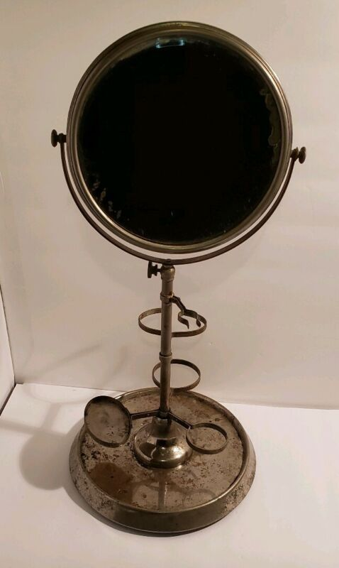 Antique Silver Metal Shaving Stand with Double Sided Mirror Vintage