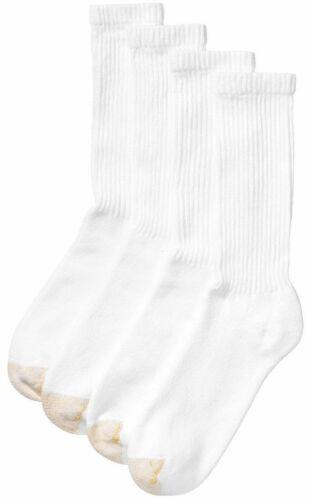 3 Pack Men's Gold Toe Regular Top Crew Socks, White, Shoe Si