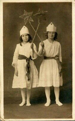 Two Girls Costumes (1900'S RPPC TWO GIRLS IN NURSE'S HALLOWEEN COSTUMES.  Unique)