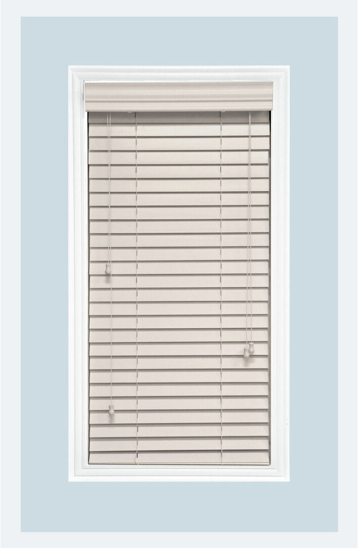 "Custom Made 2"" Real Wood Horizontal Window Blind, White, Inside Mount"