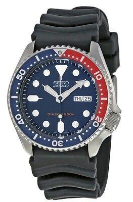 NEW Seiko Automatic Men's Diver Watch Black Rubber Strap Blue Dial SKX009K1