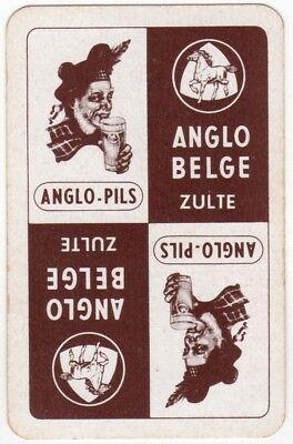 Playing Cards 1 Single Swap Card Vintage Advertising ANGLO BELGE PILS Beer HORSE