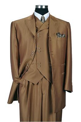 Men's Luxurious Wool Feel Herring Bone Striped Suit w/ Fancy Vest #5264 - Herringbone Striped Suit