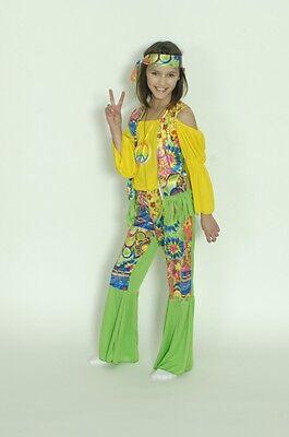 Kostüm Hippie 3tlg ohne Kette Flower Power Gr 140 152 Faschingskostüm Kinder