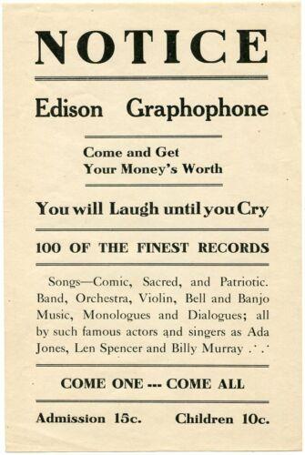 Edison Graphophone 1890s Performance Handbill Ada Jones Len Spencer Phonograph
