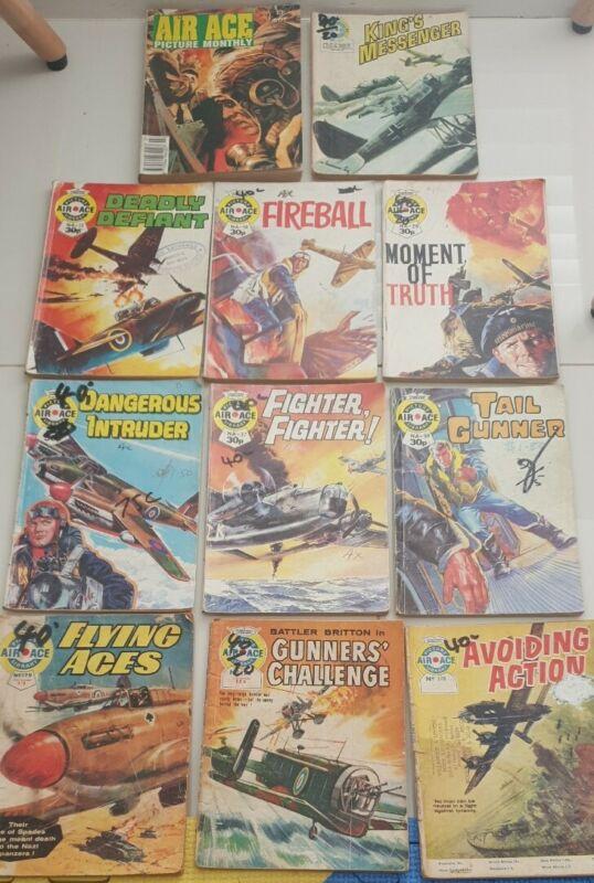 BUNDLE 11 X AIR ACE Picture Library War Comics -1960s # 179 286 378 542 12 18 29