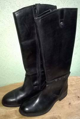 Ladies Black Leather Biker Style Calf Length Boots Size 3 1/2 Fashion/Gothic for sale  Shipping to Nigeria