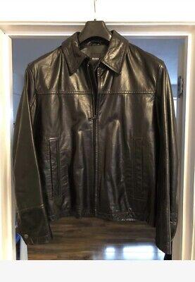 mens hugo boss leather jacket 52/54