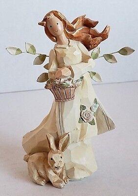 Spring girl angel figurine holding flower basket metal leaf wings rabbit nature
