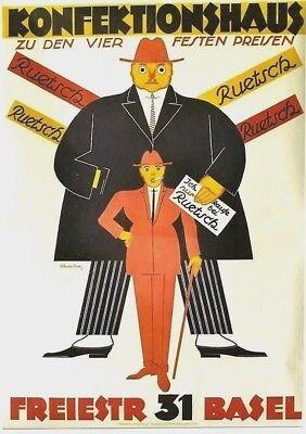 Original vintage poster RUETSCH SWISS MEN'S FASHION c.1925