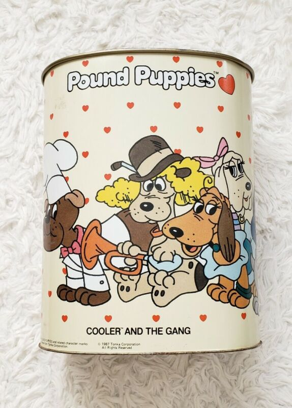 1987 Pound Puppies Cooler and the Gang Tonka Metal Trash Garbage Can KITSCH
