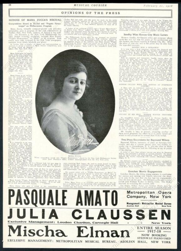 1918 Mana Zucca photo New York Philharmonic performance review print article