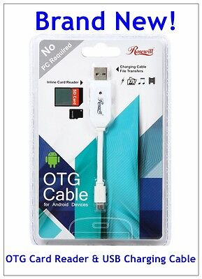 Rosewill Model ROTG-14004 - 4-Inch OTG Card Reader & USB Charging Cable - White