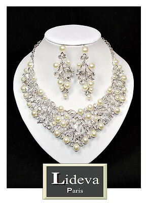 Set De Collar XL Pendientes Cadena Juego de Joyas Boda Perlas Cristal...