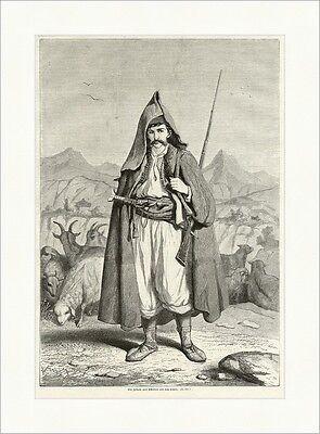 Ein Juhasz oder Schafhirt aus dem Banat Rumänien Ungarn K&K Holzstich E 5494