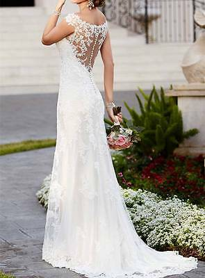 New White/Ivory Mermaid Wedding Dress Bridal Gown Custom Size 4 6 8 10 12 14 16+