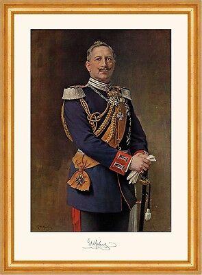 Kaiser Wilhelm II. in Gala Uniform mit Degen Faksimile 5 im Goldrahmen