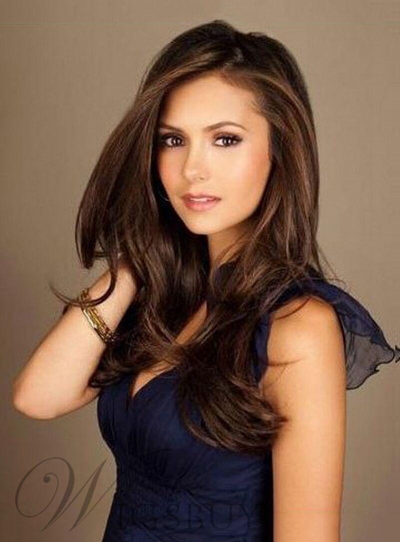Nina Dobrev Fabulous Attractive Long Straight Human Hair Wigs 20