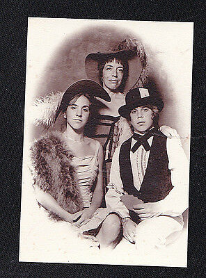 Antique Vintage Photograph Three People Wearing Wonderful Old Outfits / Costumes