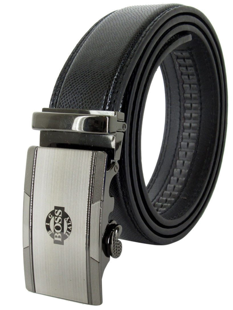 Men Genuine Leather Automatic Ratchet Click Lock Chrome Buckle Belt BIG BOSS Belts