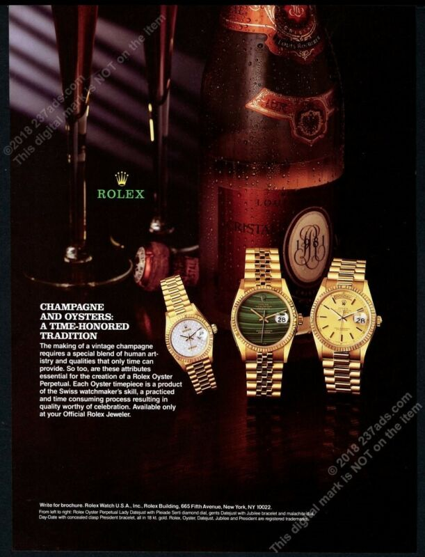 1994 Rolex Datejust Day Date gold watch Cristal champagne photo vintage print ad