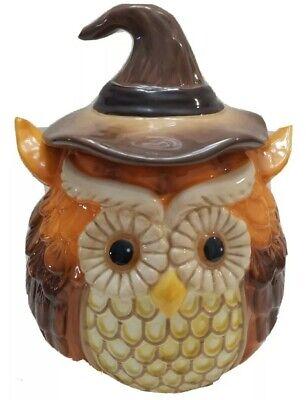 "Cracker Barrel Harvest Owl Cookie Jar 10"" Halloween Witches Hat Fall Decoration"