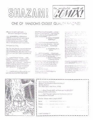 SHAZAM! THE WONDERFUL WORLD OF COMIX vintage flyer 1971 fanzine John Pound art