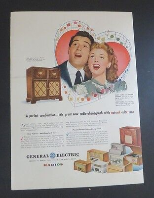 Original Print Ad 1946 General Electric Radios Perry Como Martha Stewart
