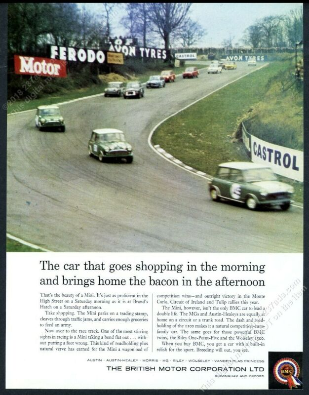 1964 Mini Cooper S race cars color photo BMC vintage print ad