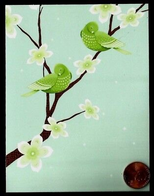 Beautiful Green Birds Blossoming Branch Flowers  Small Blank Note Card - NEW