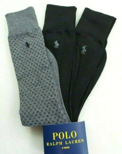 Polo Ralph Lauren Men's Dress Socks 3 Pairs Pack L Black Gray Solid Square Pony