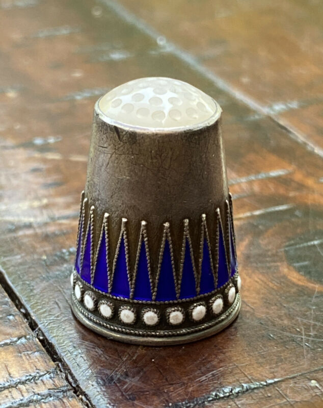 Antique Sterling Thimble Marius Hammer Enamel Norway