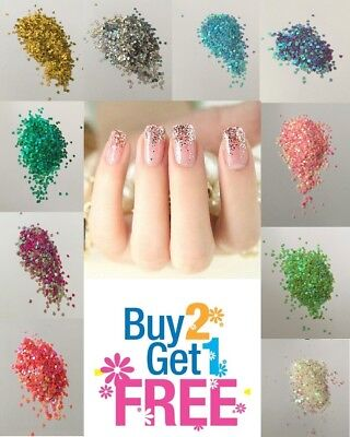 HEART Glitter💗Multi Colors Nail Holographic Glitter Art Acrylic Gel Free ship (Glitter Hearts)