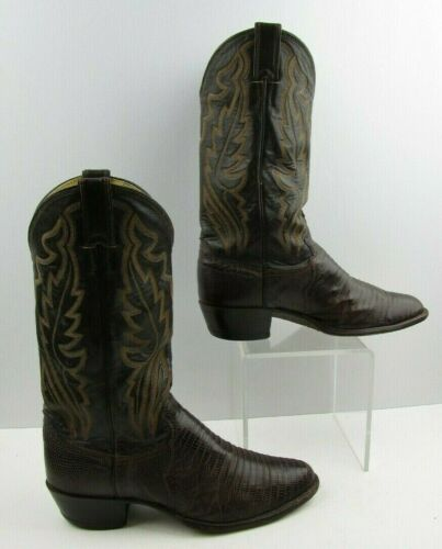 Mens, Justin, Brown, Lizard, Skin, Round, Toe, Western, Cowboy, Boots, Size:, 8, EE