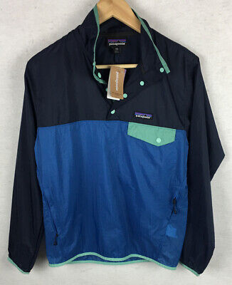 NWT! Patagonia Mens XXS Blue Houdini Snap T Color Block Pullover Jacket Packable
