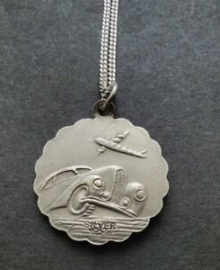 VINTAGE SOLID SILVER GEORG JENSEN DOUBLE SIDED ST CHRISTOPHER NECKLACE