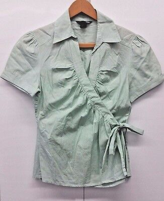 H&M Women's Green/White Wrap Around Short Sleeve Casual Career Blouse Size 8