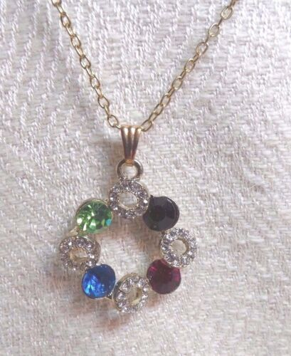 Necklace,Circle Pendant, With Clear Stone Circles Alternating With Colored Stone