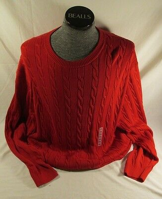ROUNDTREE AND YORKE Crimson Cotton Cable Knit Crewneck Sweater Size XXL 2XL