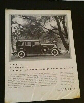 Vintage Lincoln Car Advertisement 1930's Paper Ad Sign