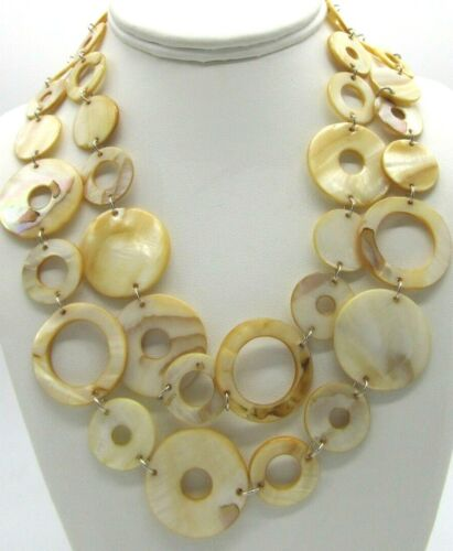 """Boho Chic Chunky Mother of Pearl Circles Disks Double Strand Necklace 18"""""""
