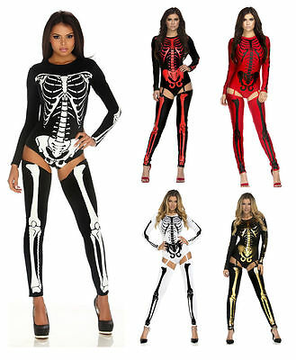 Sexy Adult Skeleton Jumpsuit Romper Bodysuit Legging Costume Halloween (defects)