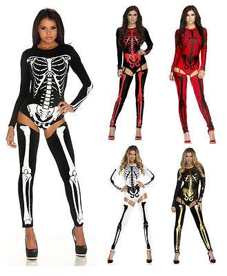 Sexy Adult Skeleton Jumpsuit Romper Bodysuit Legging Costume Halloween