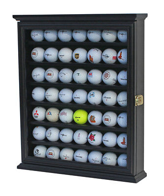 49 Golf Ball Display Case Rack Cabinet with Glass Door, LOCKABLE, GB49L-BLA