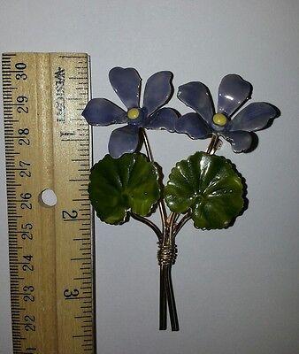 Vintage Costume Jewelry Enamel Purple Lavender Flowers Pin Brooch