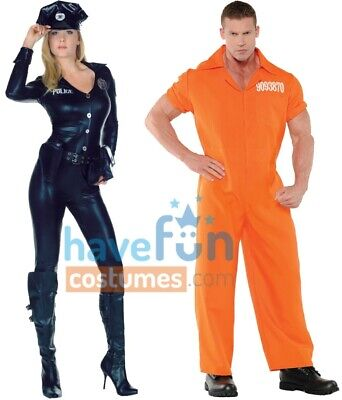 Halloween Adult Couple Costumes (Couples Adult Costumes Sexy Cop Police Officer Convict Prisoner Halloween)
