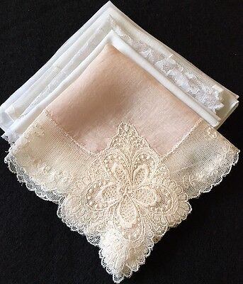 5 Cute Vintage Hankies Handkerchief Country Wedding Shabby White Pink Lace