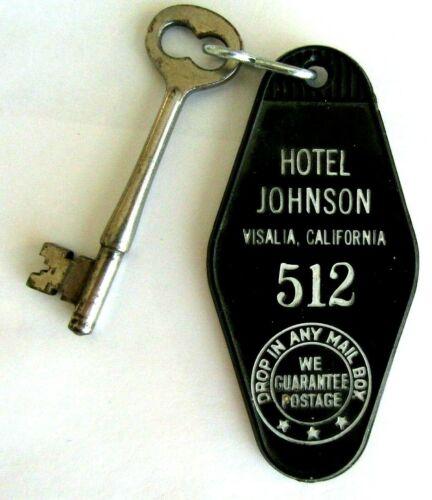 RARE HOTEL JOHNSON VISALIA CALIF. ROOM KEY & TAG SKELETON KEY & HAROLDS CLUB AD
